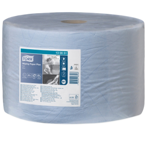 Tork Wiping Papier Plus (W1) 32,5 cm, blauw product foto Front View L
